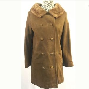 SUEDE LEATHER & GENUINE MINK FUR Vtg 50s Coat RARE